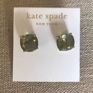 kate spade Jewelry - Kate spade small Square stud Earrings Green Gold